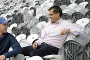 Rugby agent Warren Alcock chats with Ben Smith at Forsyth Barr Stadium. Photo / Otago Daily Times