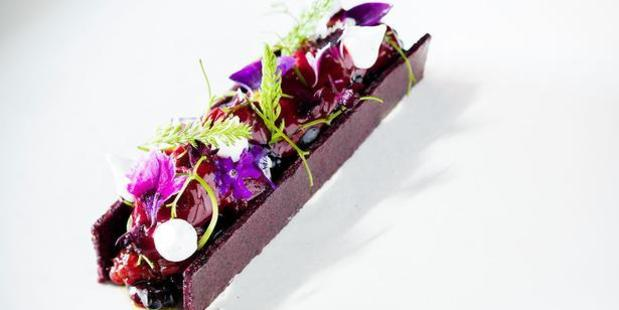 Clooney's beetroot and blackberry dessert. Photo / Babiche Martens