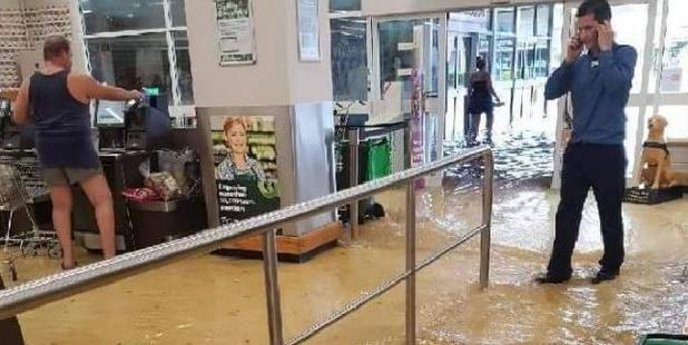 The Gladstone Woolworths flooded. Photo / Facebook