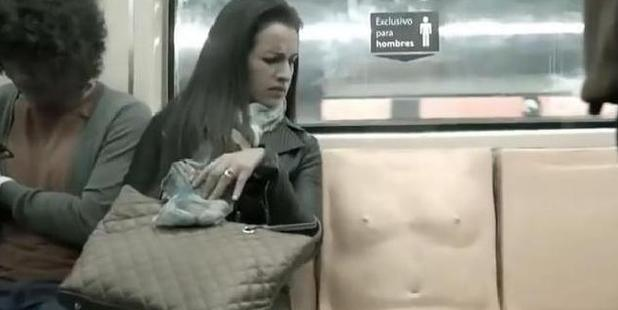 Loading A 'penis seat' that has installed on trains in Mexico City to combat sexual harassment. Photo / YouTube