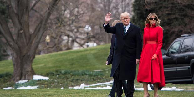 President Donald Trump, first lady Melania Trump and their son Barron at the White House. Photo / Washington Post