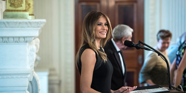 Melania Trump speaks at a luncheon to mark International Women's Day in the State Dining Room at the White House on March 8. Photo / Washington Post