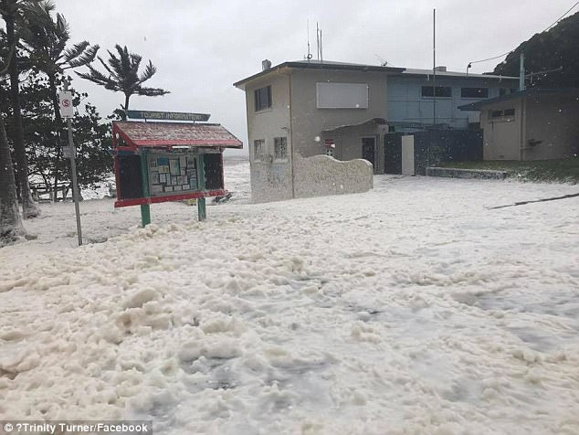 Waves up to eight meters high combined with 260km/h winds have spread thick layers of foam along the coast. Photo/Facebook