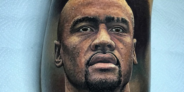 Butcher also did this photo-like tattoo of Jonah Lomu. Photo/Supplied