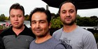 Former interpreters for the NZ Defence Force, now living in New Zealand, from left, Sayed Hussaini, Raza Khadim and Parwiz Hakimi. Photo / Mike Scott