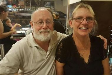 Jenny Clarke is cut off from her home, where her husband David was sheltering from Debbie. Photo / Courier Mail