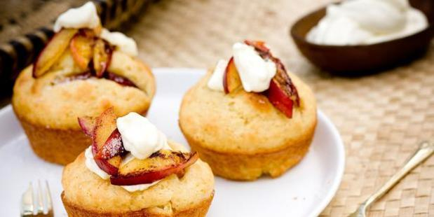 Nectarine and almond muffins. Photo / Babiche Martens