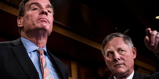 Senate Intelligence Committee Vice-Chairman Mark Warner, left, and committee Chairman Richard Burr. Photo / Washington Post
