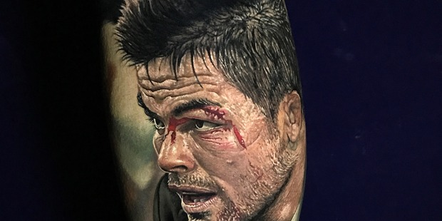 It took Kiwi tattoo artist Steve Butcher nine hours to ink this incredible image of All Blacks legend Richie McCaw. Photo/Supplied