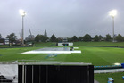 A very wet Seddon Park this morning. Photo / Andrew Alderson