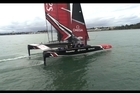 Emirates Team New Zealand take their 50-ft America's Cup race boat for a spin on the Waitemata Harbour in their final week of training in Auckland before they head to Bermuda.
