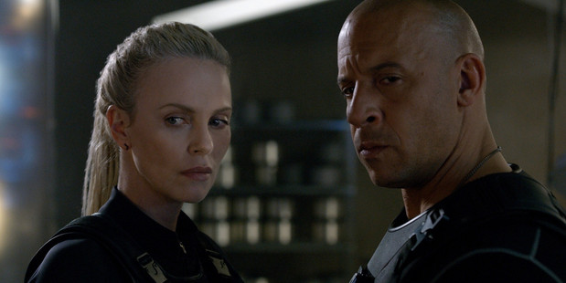Loading Charlize Theron and Vin Diesel in a scene from The Fate of the Furious.