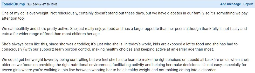 This mother says her daughter has a healthier appetite than other children and has had to learn portion control at a younger age, but she doesn't want to turn it into an issue. Photo / Mumsnet, TonaldDrump