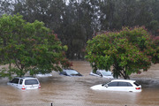 Cars submerged at Robina Hospital on the Gold Coast. Photo / AA