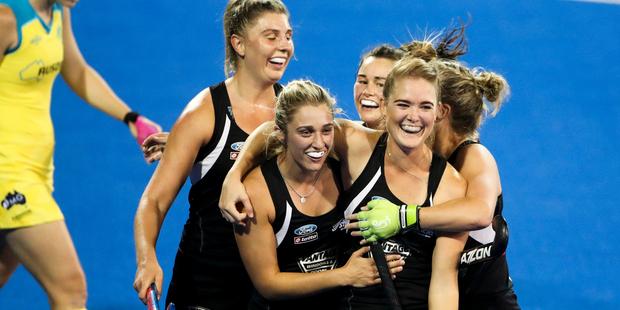 New Zealand celebrate a goal by Sam Harrison in the draw against Australia. Photo / photosport.nz