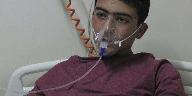 About 60 victims of the chemical weapons attack in the Syrian city of Idlib were taken to Turkey for treatment. Photo / AP