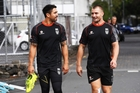 Shaun Johnson (left) and Kieran Foran have formed a bond on and off the field for the Warriors. Photo / Photosport