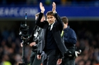 Chelsea manager Antonio Conte celebrates. Photo / AP
