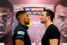 Boxers Anthony Joshua, left, and Wladimir Klitschko attend a press conference announcing their unification fight for the IBF, IBO and WBA World Heavyweight titles at Wembley Stadium. Photo / AP