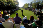 Phil Mickelson hits his tee shot on the seventh hole during a practice round for the Masters. Photo / AP