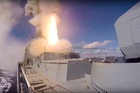 Russian Defense Ministry footage from November 2016 shows a Kalibr missile being fired from the Russian Navy frigate Admiral Grigorovich. Photo / AP