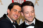 Andy Lee and Hamish Blake pose in the awards room the Logies. Photo /  Getty