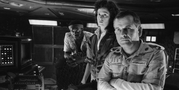 From left to right, actors Yaphet Kotto, Sigourney Weaver and Ian Holm on the set of Ridley Scott's science fiction classic 'Alien', circa 1979. Photo / Getty