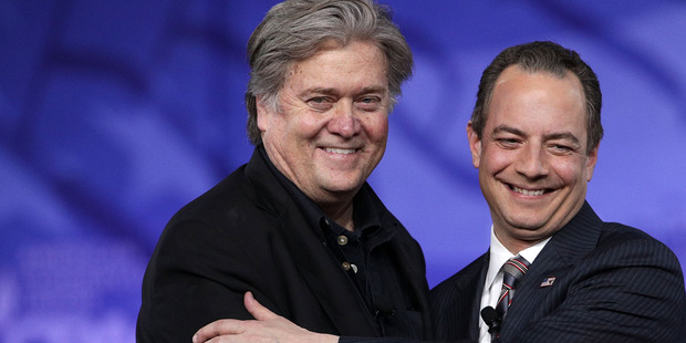 Pressure is on White House Chief of Staff Reince Priebus, right, seen here with Bannon. Photo / Getty Images