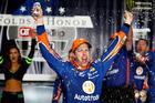 Brad Keselowski celebrates in Victory Lane after winning a NASCAR race. Photo / Getty Images
