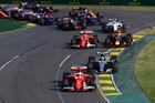 Sebastian Vettel leads Valtteri Bottas during the Australian GP. Photo / Getty Images