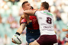 Jared Waerea-Hargreaves offloads against Manly. Photo / Getty Images