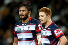 Amanaki Mafi and Nic Stirzaker of the Rebels who lost their fifth straight game this season on Friday. Photo / Getty