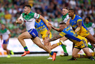 Nick Cotric heads to the try line to score for the Raiders against the Eels in Canberra last night. Photo / Getty Images.