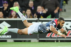Josh Addo-Carr dives to score a try for the Storm against the Penrith Panthers at AAMI Park in Melbourne, Australia. Photo / Getty Images.