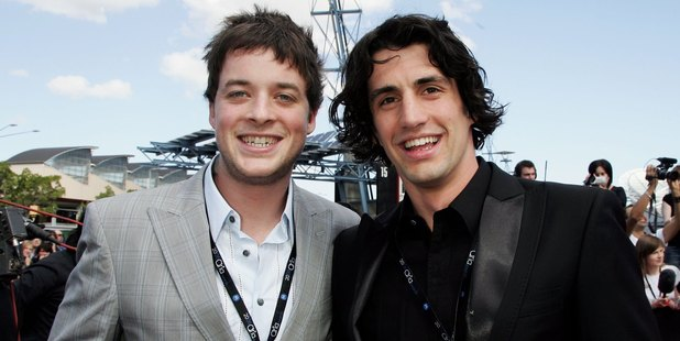Comedians Hamish Blake and Andy Lee arrive at the ARIA Awards 2006. Photo / Getty