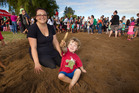 Kathy Pahl's son Ben, 2, was stoked to find a stick in the big dig. Photo/Ben Fraser