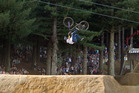 A rider does a jump during the Slopestyle event. Photo/Ben Fraser