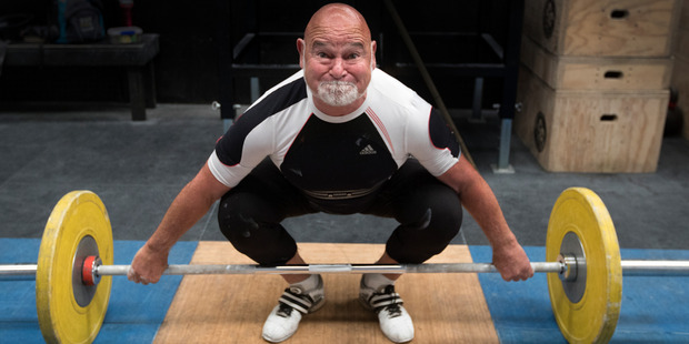 1974 Commonwealth Games weightlifting gold medalist Tony Ebert training for World Masters Games in Auckland. Photo/Brett Phibbs