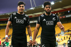 Brothers Rieko Ioane (L) and Akira Ioane of New Zealand look on after the 2016 Wellington Sevens pool match between New Zealand and South Africa. Photo / Getty Images.