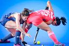 USA's Michelle Vittese keeps Japan's Motomi Kawamura in check at the Hawke's Bay Cup in Hastings. Photo/Warren Buckland