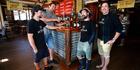 Milton Mewett, Geoff Gwynne, Jason Bathgate and Clayton Gwynne, from Waipu's McLeod's Brewery, with their gold-medal-winning Tropical Cyclone Double IPA. Photo / Michael Cunningham