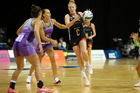 Magic's midcourter Sam Sinclair, pictured in action against the Stars earlier this season, and her team take on the Pulse in Rotorua. Photo/ Michael Bradley