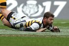 Willie Le Roux scores a try but has it disallowed by referee Nigel Owens. Photo / INPHO/Morgan Treacy
