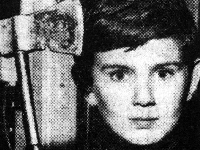 Eleven-year-old Shane Spiller with his tomahawk after trying to ward off Derek Percy, who murdered his friend Yvonne Tuohy. Photo / News Corp