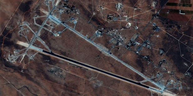 Loading Fifty-nine missiles were launched at the Syrian air base. Photo / AP
