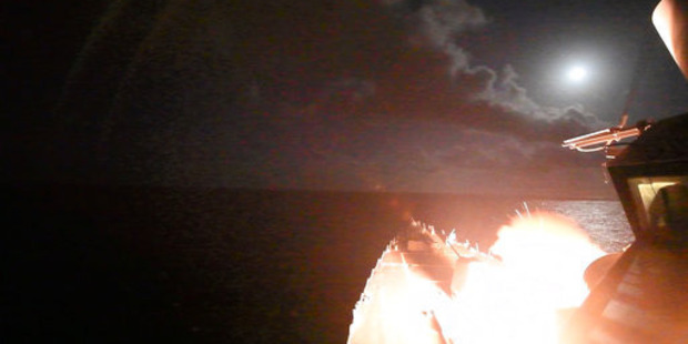 In this image provided by the US.Navy, the guided-missile destroyer USS Porter (DDG 78) launches a tomahawk land attack missile in the Mediterranean Sea. Photo / AP