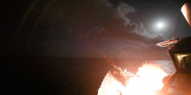 Loading In this image provided by the US Navy, the guided-missile destroyer USS Porter launches a tomahawk land attack missile. The Russians claim four children were killed in the strike. Photo / AP