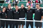 New Zealand's Davis cup winning team from left: Murray Hing, (Physio), Marcus Daniell, Rubin Statham, Michael Venus, Artem Sitak and Alistair Hunt (captain). Photo / Photosport