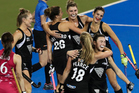 New Zealand celebrate a goal against Japan in the final of the Festival of Hockey. Photo/Photosport