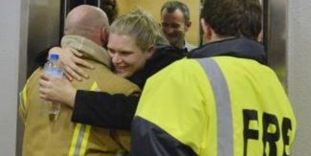 Pure relief as the group are rescued. Photo / Gerard O'Brien / Otago Daily Times